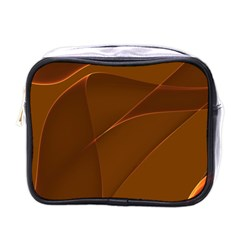 Brown Background Waves Abstract Brown Ribbon Swirling Shapes Mini Toiletries Bags