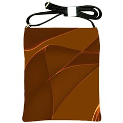Brown Background Waves Abstract Brown Ribbon Swirling Shapes Shoulder Sling Bags
