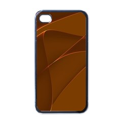 Brown Background Waves Abstract Brown Ribbon Swirling Shapes Apple Iphone 4 Case (black)