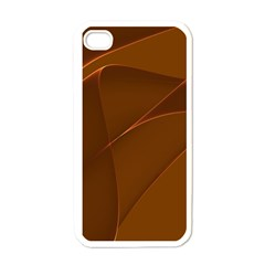 Brown Background Waves Abstract Brown Ribbon Swirling Shapes Apple iPhone 4 Case (White)