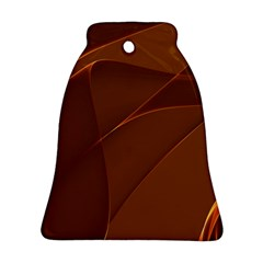 Brown Background Waves Abstract Brown Ribbon Swirling Shapes Bell Ornament (two Sides)