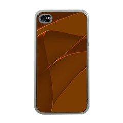 Brown Background Waves Abstract Brown Ribbon Swirling Shapes Apple Iphone 4 Case (clear)