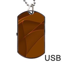 Brown Background Waves Abstract Brown Ribbon Swirling Shapes Dog Tag USB Flash (One Side)