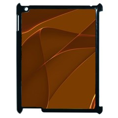 Brown Background Waves Abstract Brown Ribbon Swirling Shapes Apple iPad 2 Case (Black)