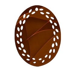 Brown Background Waves Abstract Brown Ribbon Swirling Shapes Oval Filigree Ornament (Two Sides)