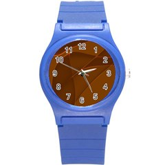 Brown Background Waves Abstract Brown Ribbon Swirling Shapes Round Plastic Sport Watch (s)