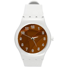 Brown Background Waves Abstract Brown Ribbon Swirling Shapes Round Plastic Sport Watch (M)