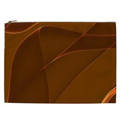 Brown Background Waves Abstract Brown Ribbon Swirling Shapes Cosmetic Bag (XXL)