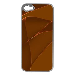 Brown Background Waves Abstract Brown Ribbon Swirling Shapes Apple Iphone 5 Case (silver)