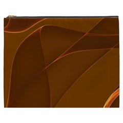Brown Background Waves Abstract Brown Ribbon Swirling Shapes Cosmetic Bag (xxxl)