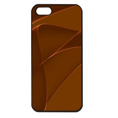 Brown Background Waves Abstract Brown Ribbon Swirling Shapes Apple Iphone 5 Seamless Case (black)