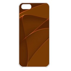 Brown Background Waves Abstract Brown Ribbon Swirling Shapes Apple iPhone 5 Seamless Case (White)
