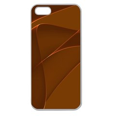 Brown Background Waves Abstract Brown Ribbon Swirling Shapes Apple Seamless iPhone 5 Case (Clear)