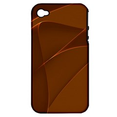 Brown Background Waves Abstract Brown Ribbon Swirling Shapes Apple iPhone 4/4S Hardshell Case (PC+Silicone)