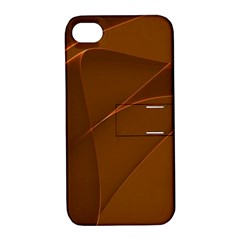 Brown Background Waves Abstract Brown Ribbon Swirling Shapes Apple iPhone 4/4S Hardshell Case with Stand