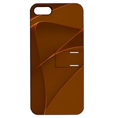 Brown Background Waves Abstract Brown Ribbon Swirling Shapes Apple Iphone 5 Hardshell Case With Stand