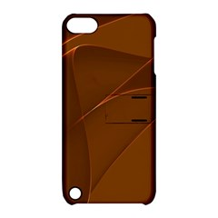 Brown Background Waves Abstract Brown Ribbon Swirling Shapes Apple Ipod Touch 5 Hardshell Case With Stand