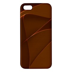 Brown Background Waves Abstract Brown Ribbon Swirling Shapes Apple Iphone 5 Premium Hardshell Case