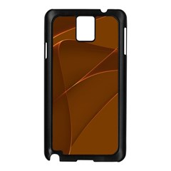 Brown Background Waves Abstract Brown Ribbon Swirling Shapes Samsung Galaxy Note 3 N9005 Case (black)