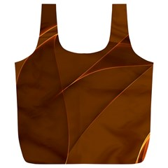 Brown Background Waves Abstract Brown Ribbon Swirling Shapes Full Print Recycle Bags (L)