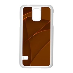 Brown Background Waves Abstract Brown Ribbon Swirling Shapes Samsung Galaxy S5 Case (White)