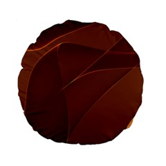 Brown Background Waves Abstract Brown Ribbon Swirling Shapes Standard 15  Premium Flano Round Cushions