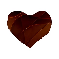 Brown Background Waves Abstract Brown Ribbon Swirling Shapes Standard 16  Premium Flano Heart Shape Cushions