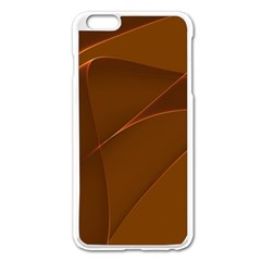 Brown Background Waves Abstract Brown Ribbon Swirling Shapes Apple Iphone 6 Plus/6s Plus Enamel White Case