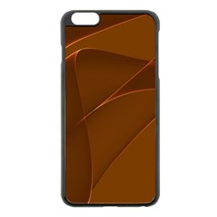 Brown Background Waves Abstract Brown Ribbon Swirling Shapes Apple Iphone 6 Plus/6s Plus Black Enamel Case