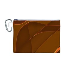 Brown Background Waves Abstract Brown Ribbon Swirling Shapes Canvas Cosmetic Bag (M)