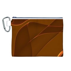 Brown Background Waves Abstract Brown Ribbon Swirling Shapes Canvas Cosmetic Bag (l)
