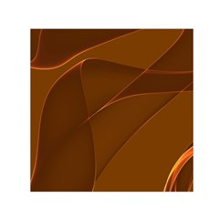 Brown Background Waves Abstract Brown Ribbon Swirling Shapes Small Satin Scarf (square)