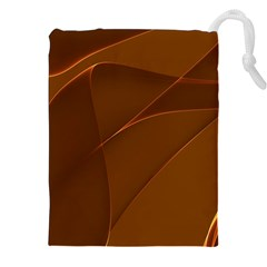 Brown Background Waves Abstract Brown Ribbon Swirling Shapes Drawstring Pouches (XXL)