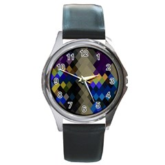 Background Of Blue Gold Brown Tan Purple Diamonds Round Metal Watch
