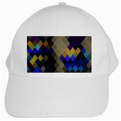 Background Of Blue Gold Brown Tan Purple Diamonds White Cap