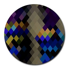 Background Of Blue Gold Brown Tan Purple Diamonds Round Mousepads