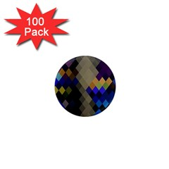 Background Of Blue Gold Brown Tan Purple Diamonds 1  Mini Magnets (100 pack)