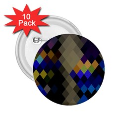 Background Of Blue Gold Brown Tan Purple Diamonds 2 25  Buttons (10 Pack)