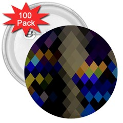 Background Of Blue Gold Brown Tan Purple Diamonds 3  Buttons (100 pack)
