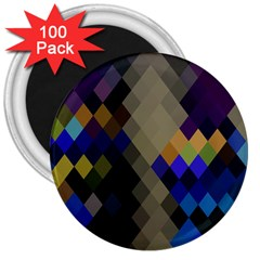 Background Of Blue Gold Brown Tan Purple Diamonds 3  Magnets (100 pack)