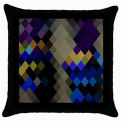 Background Of Blue Gold Brown Tan Purple Diamonds Throw Pillow Case (Black)