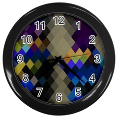 Background Of Blue Gold Brown Tan Purple Diamonds Wall Clocks (black)