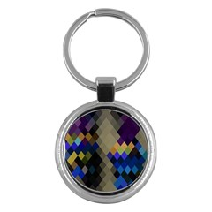 Background Of Blue Gold Brown Tan Purple Diamonds Key Chains (Round)