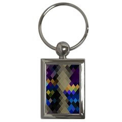 Background Of Blue Gold Brown Tan Purple Diamonds Key Chains (rectangle)