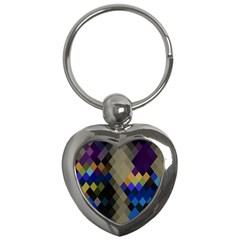 Background Of Blue Gold Brown Tan Purple Diamonds Key Chains (heart)