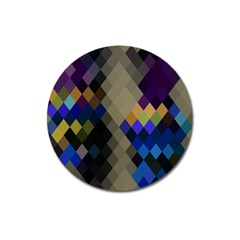 Background Of Blue Gold Brown Tan Purple Diamonds Magnet 3  (Round)
