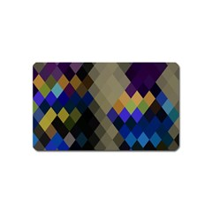 Background Of Blue Gold Brown Tan Purple Diamonds Magnet (name Card)