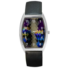 Background Of Blue Gold Brown Tan Purple Diamonds Barrel Style Metal Watch