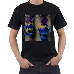 Background Of Blue Gold Brown Tan Purple Diamonds Men s T Shirt (black) (two Sided)