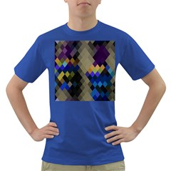 Background Of Blue Gold Brown Tan Purple Diamonds Dark T Shirt